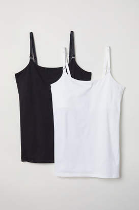 H&M MAMA 2-pack Nursing Tank Tops - White