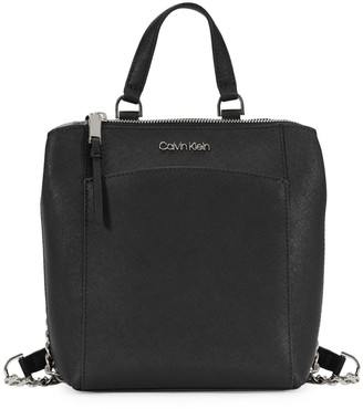 Calvin Klein Hayden Top-Zip Leather Backpack