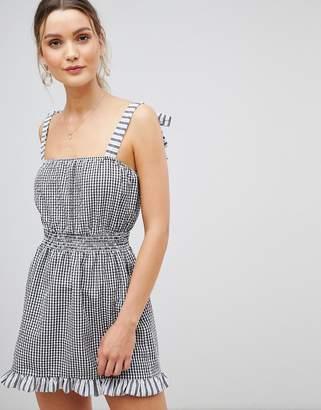 e0896f118949 Asos Design DESIGN gingham tie shoulder shirred beach dress