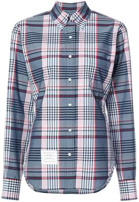 Thom Browne Classic Oversized Long Sleeve Point Collar Shirt In Large Madras Check Poplin