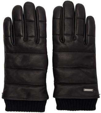 HUGO Black Leather 3D Stitching Gloves