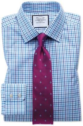 Charles Tyrwhitt Extra Slim Fit Poplin Multi Blue Check Cotton Dress Shirt French Cuff Size 15/32