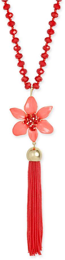 Kate Spadekate spade new york Lovely Lillies Gold-Tone Enamel Floral Long Tassel Necklace