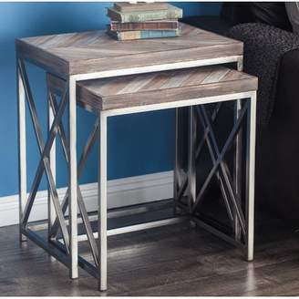 Cole & Grey Metal/Wood 2 Piece Nesting Tables