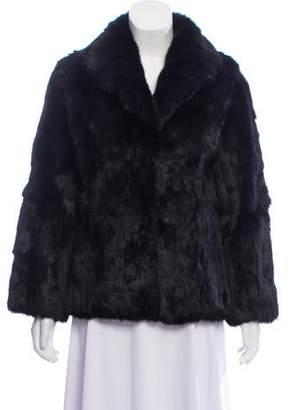 Collared Fur Coat Black Collared Fur Coat