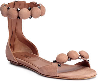 Alaia Beige suede bomb flat sandals