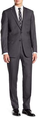 Hart Schaffner Marx Gray Pinstripe Notch Lapel Wool New York Fit 2-Piece Suit