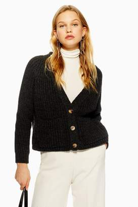 Topshop Button Cropped Cardigan