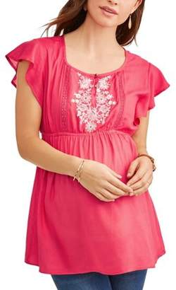 Oh! Mamma Maternity Embroidered Bodice Flutter Sleeve Top -- Available in Plus Size