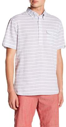 Jachs Striped Seersucket Short Sleeve Classic Fit Shirt