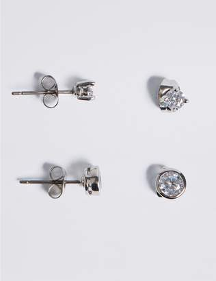 Marks and Spencer Platinum Plated Diamanté Stud Earrings Set