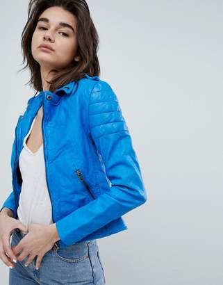 Muu Baa Muubaa Presley Cobalt Leather Biker Jacket
