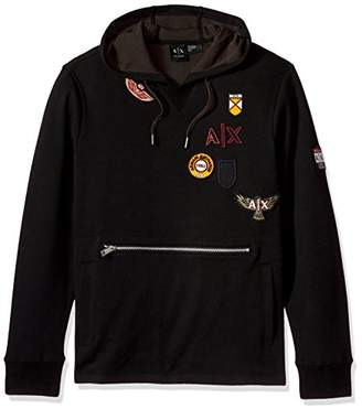 Armani Exchange A|X Men's Oversized Hoodie with Vintage Inspired Patches