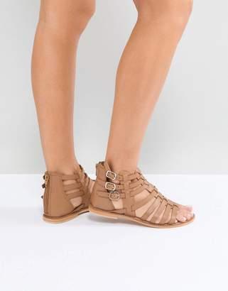 Asos DESIGN FOZ Leather Gladiator Flat Sandals