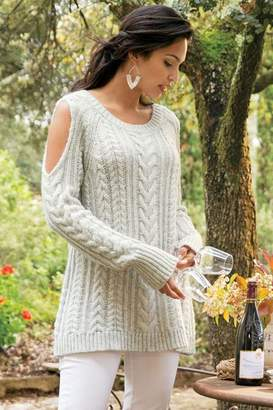 e9151c7f1f at Soft Surroundings · Soft Surroundings Cozy Cold Shoulder Sweater