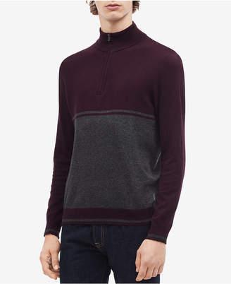 Calvin Klein Men's Colorblocked Quarter-Zip Sweater
