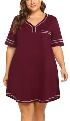 9252563b616 IN VOLAND Women s Plus Size Nightgown V Neck Cotton Sleepdress Casual  Pocket Short Sleeve Sleepwear