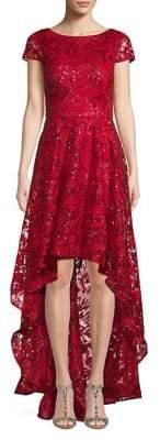 Eliza J Floral Lace High-Low Gown