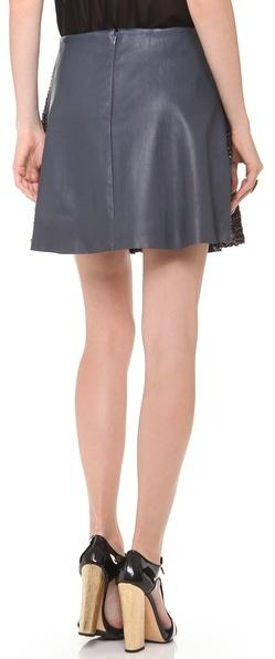 Thakoon Leather Combo Pleated Skirt