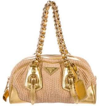 Prada Leather-Trimmed Straw Bag