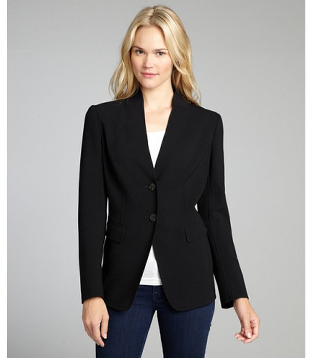 Lafayette 148 New York black stretch wool 'Blythe' two button jacket