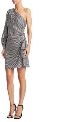 Zimmermann Striped One-Shoulder Mini Bow Dress