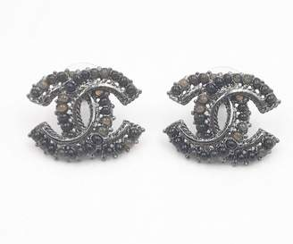 Chanel CC Black Metal Earrings