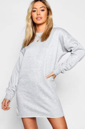 boohoo Petite Crew Neck Sweat Mini Dress