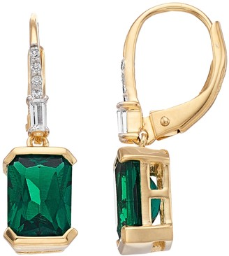14k Gold Over Silver Lab-Created Emerald & White Sapphire Earrings