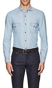 Isaia Men's Cotton Chambray Western Shirt - Lt. Blue