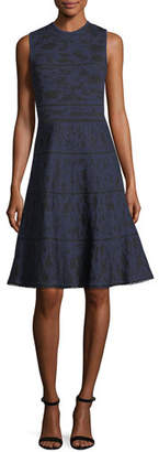 Carolina Herrera Crewneck Sleeveless Knit Jacquard Cocktail Dress