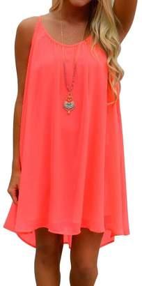 Popbop Women's Scoop-Neck Solid Sleeveless High-Low Straight Dress
