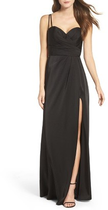 Women's La Femme Ruched Bodice Gown $308 thestylecure.com