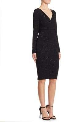 Talbot Runhof Embellished Jersey Sheath Dress