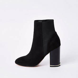 River Island Womens Black faux suede elasticated boots