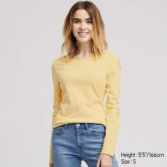 Uniqlo WOMEN Ribbed Cotton Crew Neck Long Sleeve T-shirt