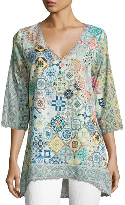 Johnny Was Jessner 3/4-Sleeve Print Tunic, Multi $149 thestylecure.com