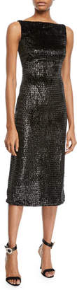 Brandon Maxwell Sleeveless Boat-Neck Metallic Velvet Mid-Calf Sheath Dress