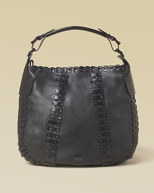 Burberry Women's Studded Plates Leather Hobo