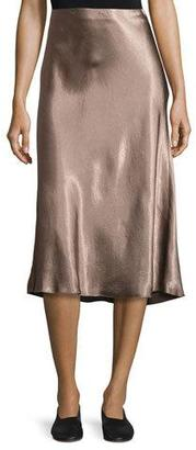 Vince Flared Satin Midi Skirt, Coffee $245 thestylecure.com