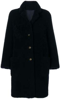 Thom Browne Reversible Sack Overcoat In Dyed Shearling