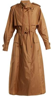 Bottega Veneta Tie Waist Silk Blend Taffeta Trench Coat - Womens - Camel