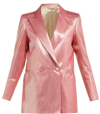 BLAZÉ MILANO Diva Double Breasted Metallic Stripe Blazer - Womens - Pink Multi