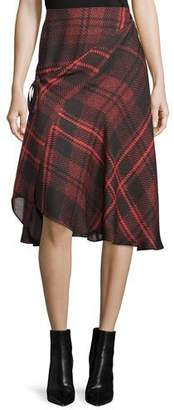 McQ Tied Tartan Plaid Skirt, Red
