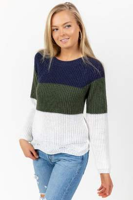francesca's Joey Color-Block Scallop Sweater - Dark Olive