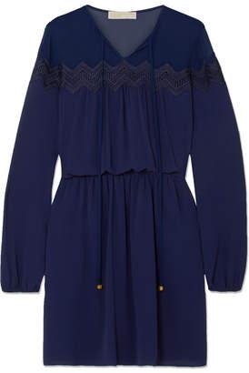 MICHAEL Michael Kors Guipure Lace-trimmed Chiffon Mini Dress - Navy