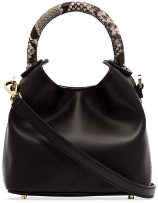 Elleme black Madeleine snake effect handle leather mini tote bag