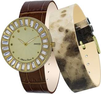 Swarovski Moog Paris Sunshine Women's Watch with Dial, Brown Genuine Leather Strap & Elements - M45432-401