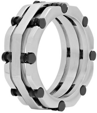 Black Rivet Unbranded Mens Stainless Steel Silver-Tone & Accent Layered Band