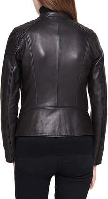 Andrew Marc Stand-Collar Quilted-Shoulder Leather Moto Jacket